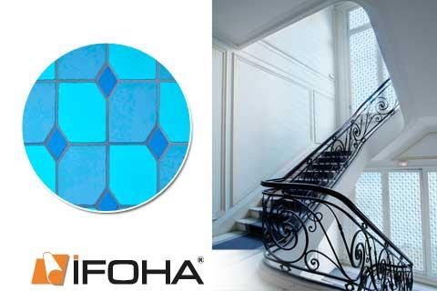 design folie f r fenster bleiverglasung blau 5003420. Black Bedroom Furniture Sets. Home Design Ideas