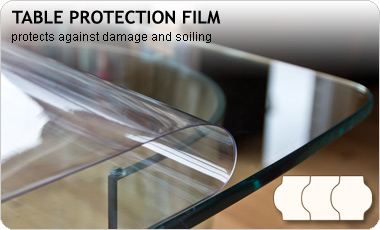 Table protection film crystal clear adhesive without glue 150µ, PREMIUM