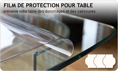 Film de protection pour table transparent adhésif sans colle 150µ, Premium